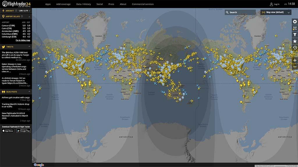 Мировой авиатрафик по данным Flightradar24.com на 3 апреля 2020 г. За редким исключением на всех основных эшелонах в небе летят самолёты./Airtraffic: World, 04/03/2020