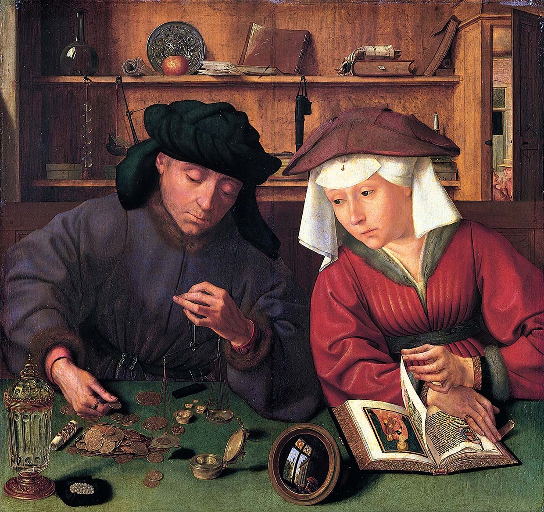 Картина фламандского художника Квентина Массиса, «Ростовщик и его жена», 1514 г.