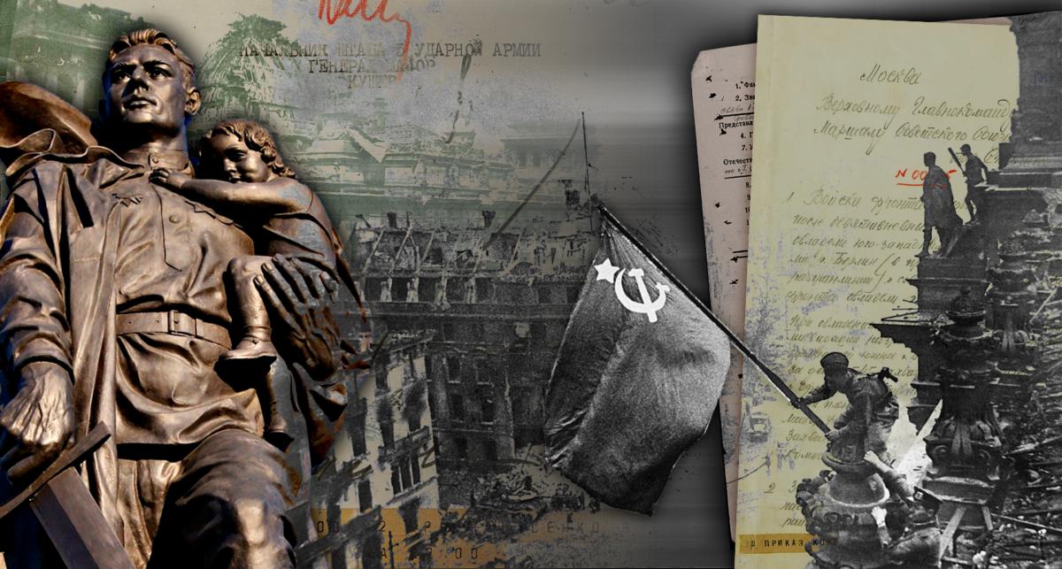 Днем 30 апреля 1945 года, командующий 1-м Белорусским фронтом Маршал Советского Союза Г.К.Жуков доложил Верховному Главнокомандующему И.В.Сталину о том, что в течение дня военнослужащие 3-й Ударной армии, продолжая наступление и ломая сопротивление противника, заняли главное здание Рейхстага и в 14 часов 25 минут подняли на нем советский флаг. Фотоколлаж Министерства обороны Российской Федерации к 75-летию завершения Берлинской наступательной операции.