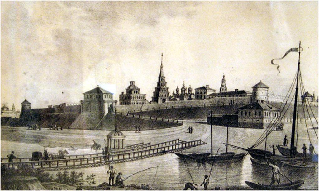 Вид Казанской крепости. Произведение XIX века, автор неизвестен. Общественное достояние