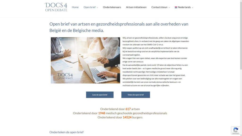 Бельгийские врачи и профессиональные работники сферы здравоохранениявыражают серьезную озабоченность развитием ситуации, связанной со вспышкой вируса SARS-CoV-2 и инфодемией вокруг этого заболевания. На снимке: сайт https://docs4opendebate.be, на котором размещено открытое письмо врачей Бельгии.