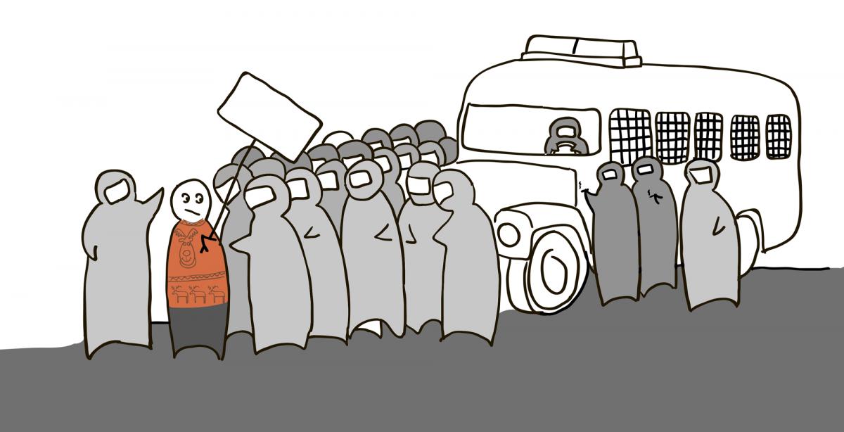 Инструкция идеального задержанного/Иллюстрация https://legal.ovdinfo.org